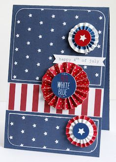 handmade 4th of July card from Pebbles Inc: More Let Freedom Ring Projects with Gretchen ... rosettes and flag inspired papers ... like the basic design ... fun card!!