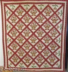 Album era!  c 1840/50s Basket Tulip Applique Quilt Antique QUILTING Sampler Sign  | eBay