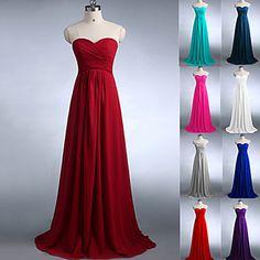 Floor-length Chiffon Bridesmaid Dress A-line Strapless/Sweetheart – USD $ 54.99