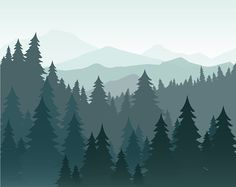 Vector illustration of pine forest and mountains vector background. Nadelwald, Tanne Silhouette und Berge i Forest Silhouette, Mountain Silhouette, Nursery Wall Murals, Nursery Decals, Mountain Illustration, Forest Illustration, Photo Wallpaper, Hd Wallpaper, Forest Drawing