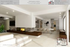 Design photography for an apartment . Home Fireplace, Modern Fireplace, Fireplaces, Interior Design Living Room, Living Room Designs, Contemporary Fireplace Designs, Modern Small House Design, Open Plan Kitchen Living Room, Architecture Design