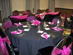 Table Decorated Hot Pink Black Settings 50th Birthday Party Wedding