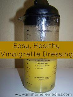 Easy, Healthy Vinaigrette Dressing {2/3 c. olive oil, 1/3 c. raw apple cider vinegar, 1/2 tsp. salt, & 1/4 tsp. pepper}