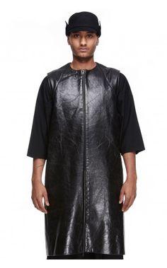Florian Wowretzko sleeveless cowleather panel jacket - unconventional