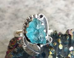 Rough gemstone ring in sterling silver  aqua blue apatite