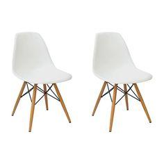 Conjunto 2 Cadeiras Eames PP Branco Base Madeira