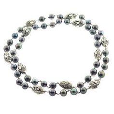 Gemstone Pearl Pave Diamond Silver Necklace Jewelry