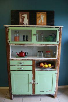 Antique Vintage Kitchen Hutch Buffet Sideboard Dresser Retro Design