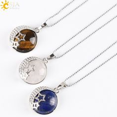 Reiki Chakra Yoga Semi Precious Natural Stone Pendant Rose Crystal Necklace Female Jewelry Love Moon Stars Back Hollow E175-in Pendant Necklaces