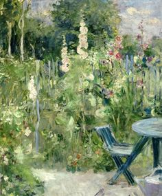 Berthe Morisot, Hollyhocks, 1884, 25.59 x 21.26 inches, Musee Marmotten Monet, Paris.