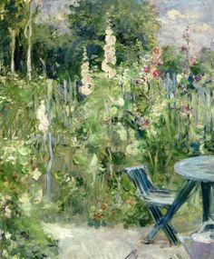Berthe Morisot, Hollyhocks, 1884, 25.59 x 21.26 inches, Musee Marmotten Monet, Paris.