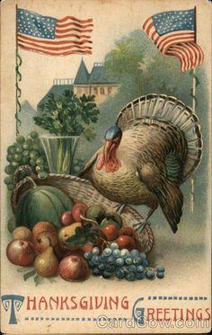 Thanksgiving Turkey Fruit US Flags Patriotic Embossed Greeting Postcard
