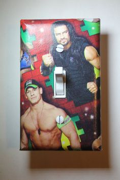 WWE John Cena Roman Reigns Light Switch Plate Cover Comic Book boys child kids wrestling wrestler room home decor bedroom by ComicRecycled on Etsy