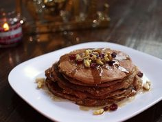 Oh yes.  Gingerbread pancakes!  (from http://www.southbeachprimal.com/paleo-gingerbread-pancakes/)