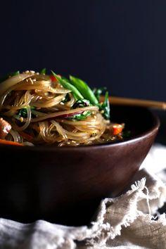 Stir-Fried Sweet Potato Noodles & Vegetables (Japchae)   Gluten, grain, and dairy free.