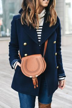 Classic navy peacoat, stripes and tan leather Chloe cross body bag handbags purses outlets Casual Winter Outfits, Preppy Fall Outfits, Preppy Dresses, Navy Outfits, Summer Outfits, Preppy Casual, Classic Outfits, Casual Fall, Jean Outfits