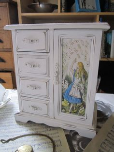 Alice In Wonderland Musical Jewellery Box - Shabby Chic - Upcycled _awesome but find a changing table or dresser thus style and DIY the pic on to the cabinet and add some cute knobs