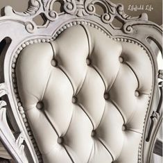 A beautiful close-up of a chair painted with French Linen Chalk Paint® decorative paint by Annie Sloan   By Lilyfield Life