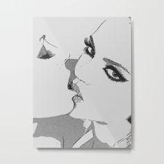 Dirty girls love to play some Naughty games - sexy lesbians kissing, biting  lips, hot erotic artwork Metal Print