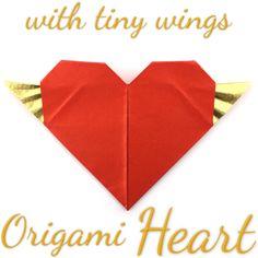 Origami Heart with tiny Wings Tutorial (Hyo Ahn) 3d Origami Heart, Origami Bow, Origami Butterfly, Oragami, Origami Easy, Origami Paper, Origami Artist, Origami Models, Diy Fan