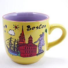 Boston Coffee Mug Yellow Souvenir Landmark 12oz Cup Luke A Tuke k495