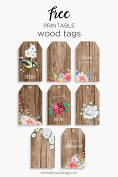 Rustic wood tags   Romantic floral printable   #rustic #printables #celebration #birthday #tags #wedding