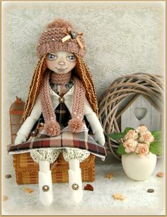 fabric soft doll Donna rag doll cloth doll мягкая тряпичная кукла мягкие игрушки текстильная кукла handmade doll ooak winter doll