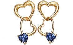 14K Gold CZ Dangling Heart Screw Back Earrings, Women Birthstone Earrings, Piercing Earring, Dangle Heart Earring, Birthstone Jewelry de Genuine14kJewelry en Etsy