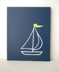 Navy Sailboat Painting on Canvas with Lime Green by WhitSpeaks