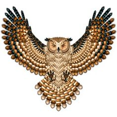 Beadwork Great Horned Owl  Naumaddic Arts!  NaumaddicArts@gmail.com