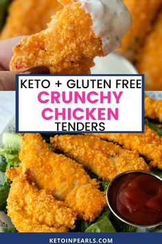 Keto chicken tenders from Keto in Pearls aren't just for kids; adults love these as well! These chicken tenders are brined in buttermilk and then breaded in a cheese breading. Yum! Gluten-free, with no eggs or pork rinds. They are super EASY to make and you can have them on the table for dinner in no time! Enjoy these delicious keto chicken tenders with your favorite homemade sauce or sugar-free ketchup. #keto #chickentenders #ketochicken #ketorecipes #ketodinnerrecipes #dinnerrecipes