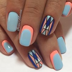 Bright and Vibrant Geometric Nail Art Idea. The best part of the geometric nail art is that you can add the colors that you like.