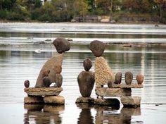 Stones in water Zen Rock, Rock Art, Stone Crafts, Rock Crafts, Land Art, Rock Sculpture, Stone Sculptures, Art Et Nature, Stone Cairns