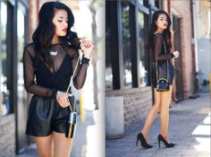 Leather & Mesh (by Olivia Lopez) http://lookbook.nu/look/3234265-Leather-Mesh