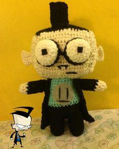 Dib from invader zim #cute #amigurumi #plushie #dib #invaderzim #goth #alien #glasses #yarn #handmade by sedated_beauty