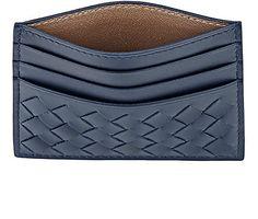 Bottega Veneta Intrecciato Flat Card Case -  - Barneys.com - six card slots, blue