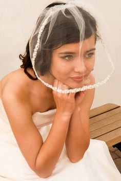 Tulle Blusher Wedding Veil with Rosebud Lace by UrbanVeilsCouture, $65.00