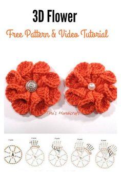 3D crochet flor padrão grátis e vídeo tutorial