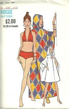 Vogue 7793 Vintage 70s Sewing Pattern Swimsuit Bathing Suit Bikini Beach Coverup Size 16 Bust 38