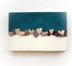 Unique Home Decor - One Of A Kind 3D Art Wall decoration - genuine Heart shaped Beach rocks