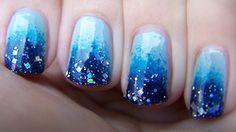 Blue ombre glitter nails