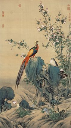 Lang Shining Qing Dynasty Hanging scroll, ink and color on silk, x cm National Palace Museum, Taipei Chinese Landscape Painting, Chinese Painting, Chinese Art, Korean Art, Asian Art, Oriental, Frida Art, Chinoiserie Wallpaper, Art Japonais