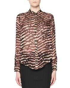 TOM FORD Animal-Print Silk Blouse, Multi. #tomford #cloth #