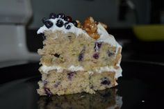 Wild Blueberry Zucchini Cake with Lemon Cream Cheese Frosting and Candied Walnuts