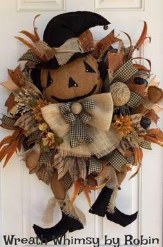 XL Fall Deco Mesh Primitive Jack-O-Lantern Wreath, Halloween Wreath, Pumpkin Wreath, Scarecrow Wreath, Rustic Pumpkin Wreath, Fall Decor by WreathWhimsybyRobin on Etsy