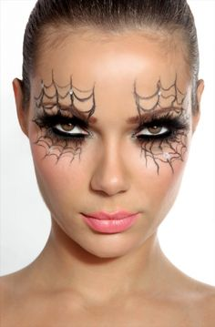 Spider Makeup: Eyeshadow. Dark, Mysterious, and Gothic. Using silver, black and grey colors.
