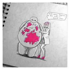 """deeeskye: """" Another doodle, inspired by the new TV spot with Honey Lemon covered in pink science-y stuff :) """""""