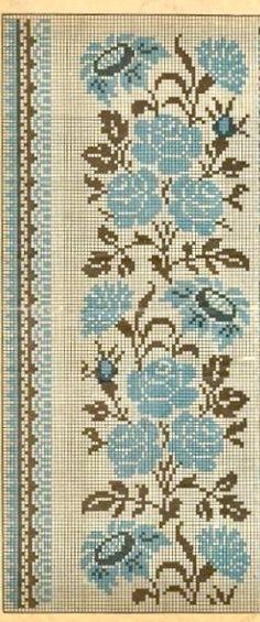 Beaded Embroidery, Cross Stitch Embroidery, Hand Embroidery, Embroidery Designs, Cross Stitch Borders, Cross Stitch Flowers, Cross Stitch Patterns, Fair Isle Knitting Patterns, Crochet Patterns