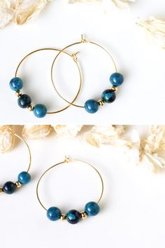 Gemstones in rich swirls of teal, green and black are framed by shiny 24k gold-plated beads and hoops. The Chrysocolla Lounge Hoops are perfect for those lazy summer days sipping cocktails poolside. This stunning pair oozes class and mystery with a dash of playfulness.   #chrysocolla #healing crystal earrings #chrysocolla earrings #hoop earrings #gifts for her #gold hoop earrings #minimalist earrings #boho earrings #beaded earrings #teal earrings Small Gold Hoop Earrings, Bead Earrings, Crystal Earrings, Puzzle Piece Crafts, Diy Jewelry Findings, Minimalist Earrings, Gold Hoops, Teal Green, Gold Beads