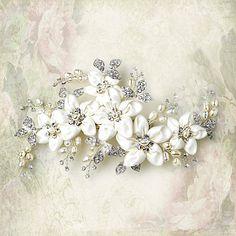 rhinestone flower Bridal hair clip by LucysBridalCloset on Etsy